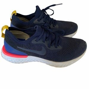 Nike Epic React Flyknit Sneakers Navy Pink Size 7